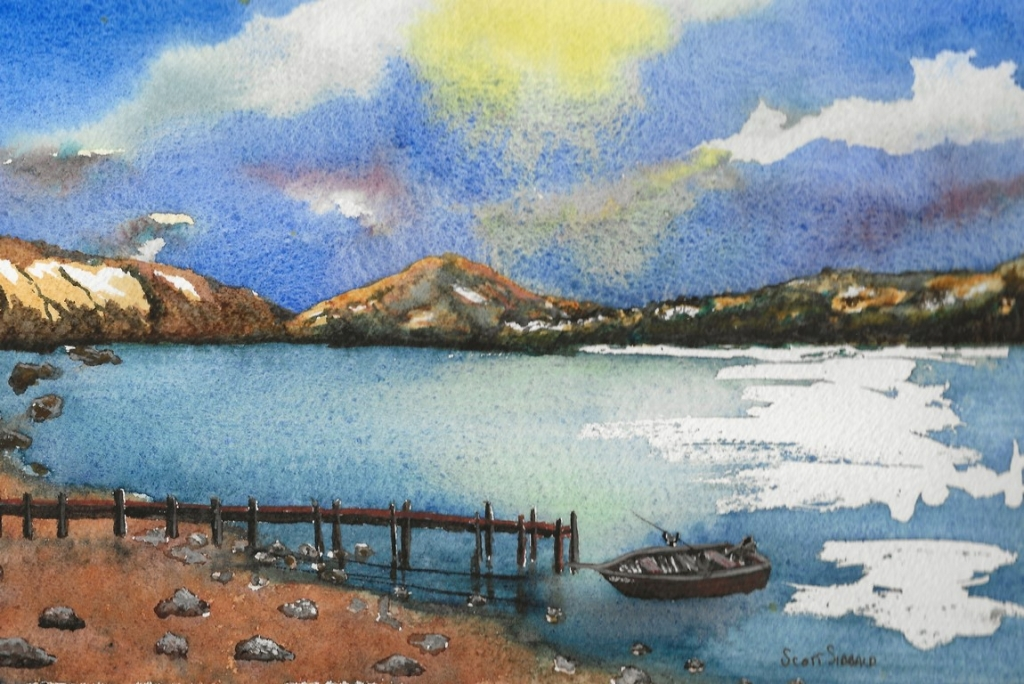 Boat on a Loch Wcolour 264318-122018 Publish